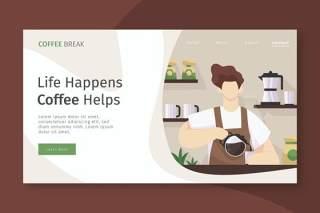 咖啡厅登录页UI界面AI设计插画模板coffee cafe landing page