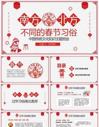 红色喜庆剪纸风中国传统节日春节南北方不同习俗主题班会PPT模板