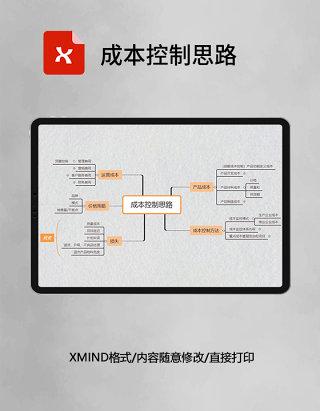 思维导图简洁成本控制思路XMind模板