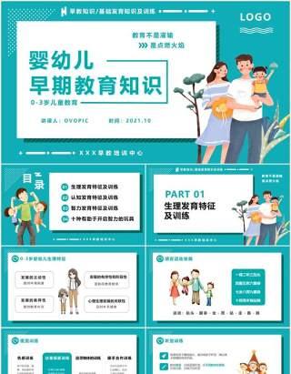 蓝色卡通风0-3岁婴幼儿早期教育知识课件动态PPT模版