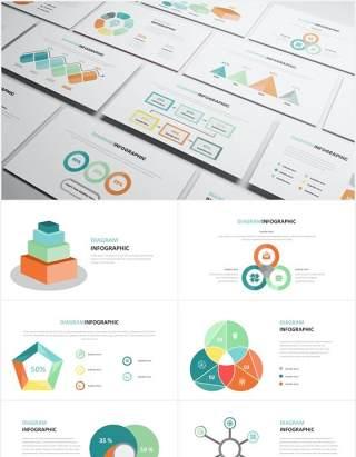 创意可视化圆形阶梯信息图表PPT素材Diagram Infographic Powerpoint Template