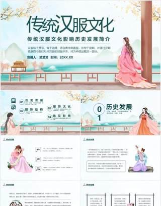 传统汉服文化影响历史发展简介动态PPT模板