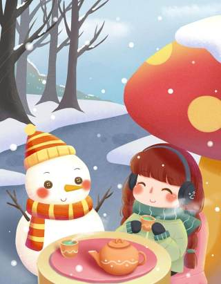 手绘插画圣诞节圣诞老人圣诞树雪人主题活动PSD设计素材43