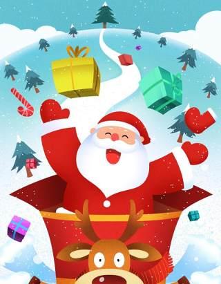 手绘插画圣诞节圣诞老人圣诞树雪人主题活动PSD设计素材42