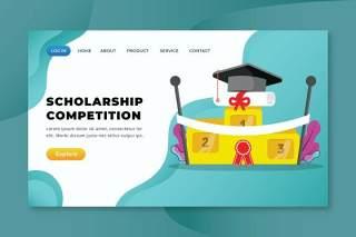 奖学金竞赛xd psd ai矢量登陆页面UI界面插画设计scholarship competition xd psd ai vector landing page