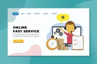 在线快速服务xd psd ai登录页UI界面插画设计online fast service xd psd ai landing page