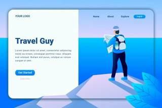 户外旅游人登录页UI界面AI插画设计模板travel guy landing page