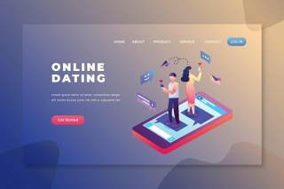 在线约会psd和ai矢量登陆页面UI界面插画设计online dating psd and ai vector landing page