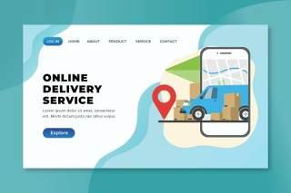 在线交付服务xd psd ai登录页UI界面插画设计online delivery service xd psd ai landing page