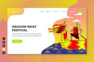 端午节矢量登陆页面UI界面插画设计dragon boat festival vector landing page