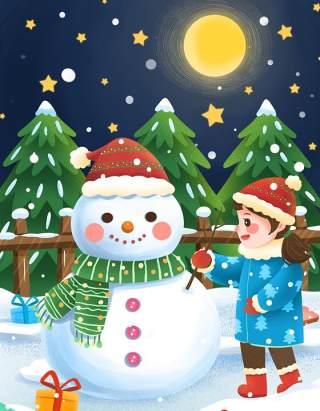 手绘插画圣诞节圣诞老人圣诞树雪人主题活动PSD设计素材26