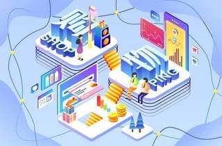 电商淘宝天猫购物促销活动2.5D立体插画AI设计海报素材2