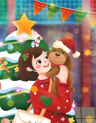 手绘插画圣诞节圣诞老人圣诞树雪人主题活动PSD设计素材31