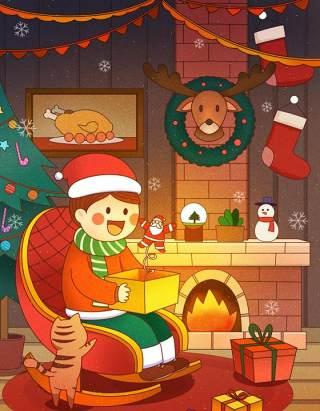 手绘插画圣诞节圣诞老人圣诞树雪人主题活动PSD设计素材21