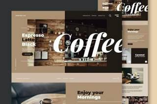 咖啡店餐厅网站UI界面设计PSD模板coffee shop restaurant website