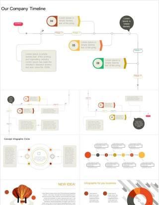 创意流程图架构结构图可视化信息图表PPT模板