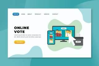 在线投票xd psd ai矢量登陆页面UI界面插画设计online vote xd psd ai vector landing page