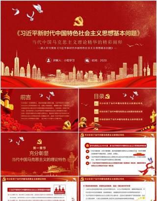 党政风习近平新时代中国特色社会主义思想基本问题学习辅导PPT模板