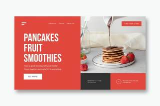 餐厅早餐美食UI界面登录页AI矢量设计模板restaurant breakfast landing page