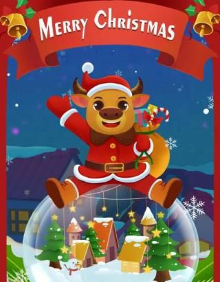 手绘插画圣诞节圣诞老人圣诞树雪人主题活动PSD设计素材40