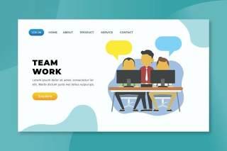 团队工作psd xd ai矢量登录页UI界面插画设计team work psd xd ai vector landing page