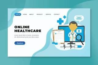 在线医疗xd psd ai矢量登录页UI界面插画设计online healthcare xd psd ai vector landing page