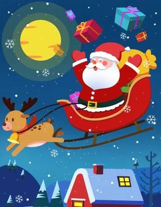 手绘插画圣诞节圣诞老人圣诞树雪人主题活动PSD设计素材20