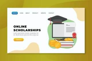 在线奖学金xd psd ai登录页UI界面插画设计online scholarships xd psd ai landing page