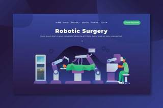 机器人手术psd和ai矢量登录页UI界面插画设计robotic surgery psd and ai vector landing page
