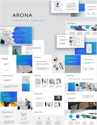 简约工作计划报告个人简历PPT模板ARONA - Powerpoint Presentation Template