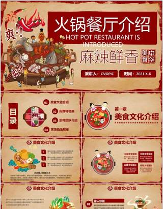 021复古风美食辣味火锅餐厅品牌介绍通用PPT模板