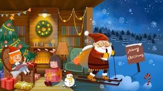 手绘插画圣诞节圣诞老人圣诞树雪人主题活动PSD设计素材16