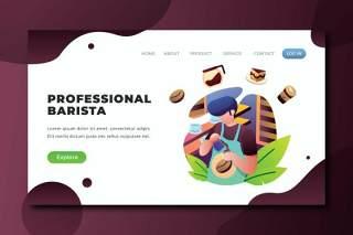专业咖啡师psd和ai矢量登录页UI界面插画设计professional barista psd and ai vector landing page