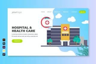 医院医疗保健登录页UI界面插画设计hospital health care landing page