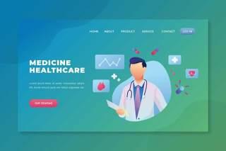 医药保健psd和ai登录页UI界面插画设计medicine healthcare psd and ai landing page