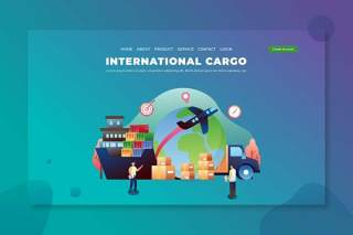 国际货运PSD和AI矢量登录页UI界面插画设计素材International Cargo - PSD & AI Vector Landing Page