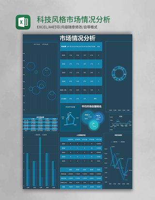 科技风格市场情况分析excel模板