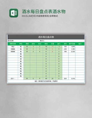 酒水每日盘点表酒水物料日盘点记录Excel模板