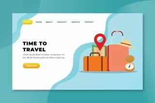 旅行时间XD PSD AI矢量登录页UI界面插画设计素材Time To Travel - XD PSD AI Vector Landing Page
