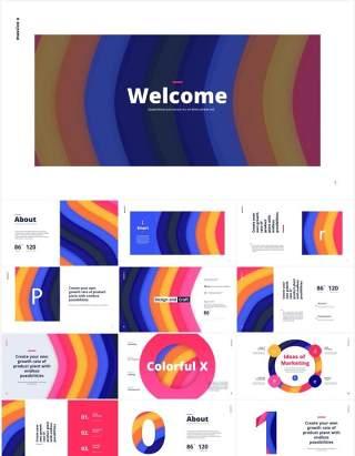 独特彩色数字字母表PPT图形设计素材Colorful Alphabet Special Slides