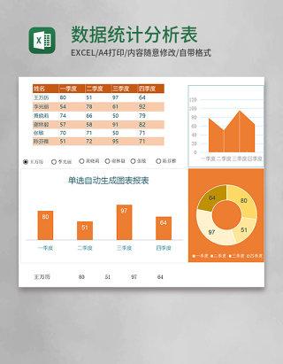 数据统计分析表(单选自动生成图表报表)excel模板