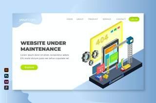 正在维护的网站2.5D等距插画测登录页界面设计素材Website Under Maintenance - Isometric Landing Page