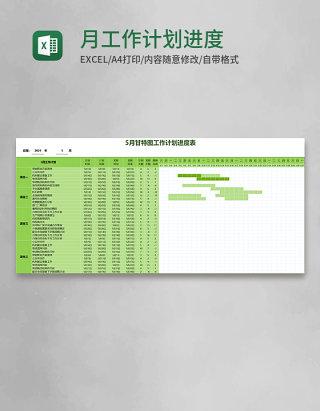 月甘特图工作计划进度表Excel模板