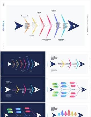 鱼骨信息图表PPT模板素材Fishbone infographics
