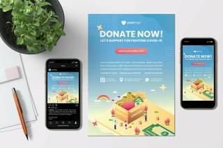 图片分享社交应用创意单页APP界面插画设计素材Donation Now - Creative Flyer & Instagram Template