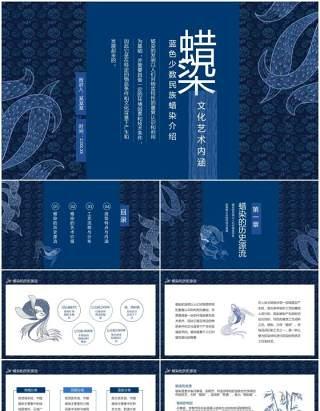 蜡染文化艺术内涵蓝色少数民族蜡染介绍动态PPT模板