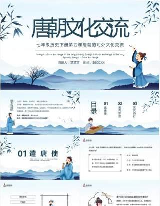 七年级历史下册第四课唐朝的对外文化交流动态PPT模板