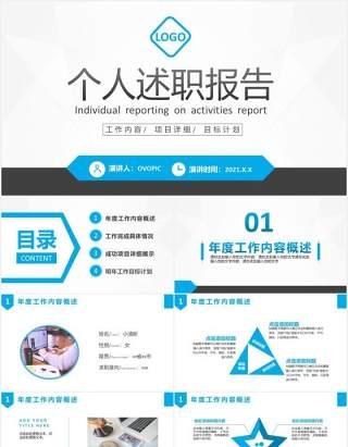 2021商务述职报告工作汇报计划总结PPT模板