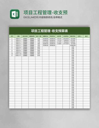 项目工程管理-收支预算表excel模板
