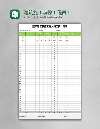 建筑施工装修工程员工薪资计算表